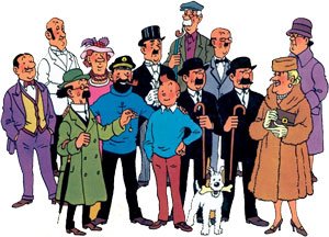 Just some of the cast of characters found in the Adventures of Tintin