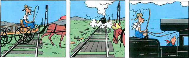 Tintin in America, page 31, panels 9-11