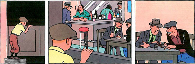 Tintin in America, page 47, panels 1-3