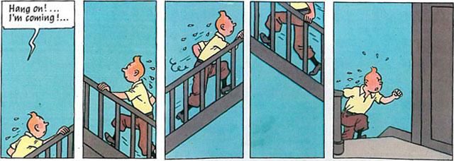 Tintin in America, page 47, panels 10-14