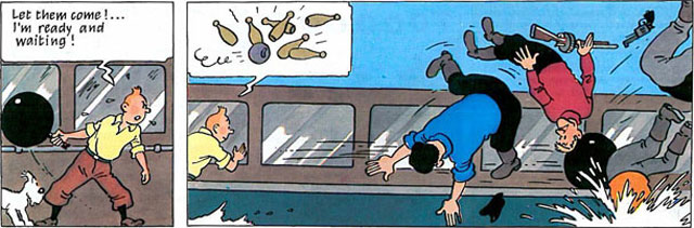 Tintin in America, page 61, panels 6-7